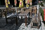 изкуствено състарени маси с пейки от дъб